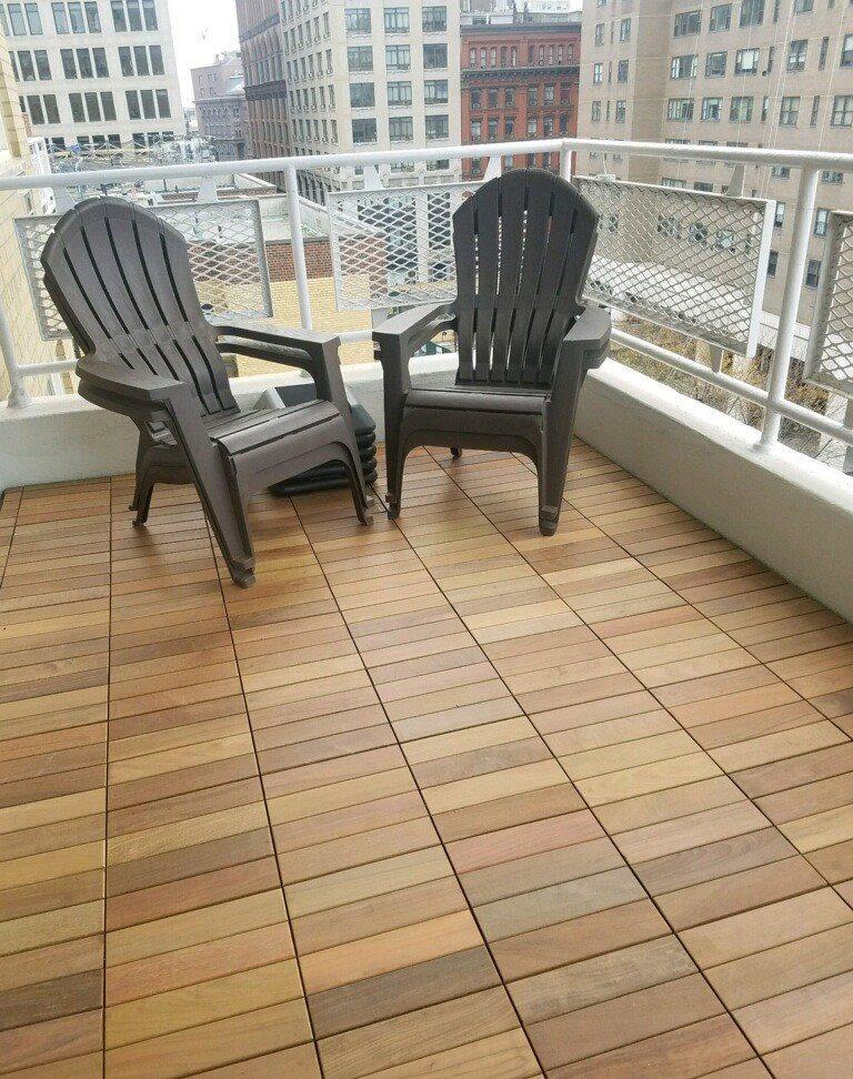 Ipe Wood Deck Tiles Straight Pattern