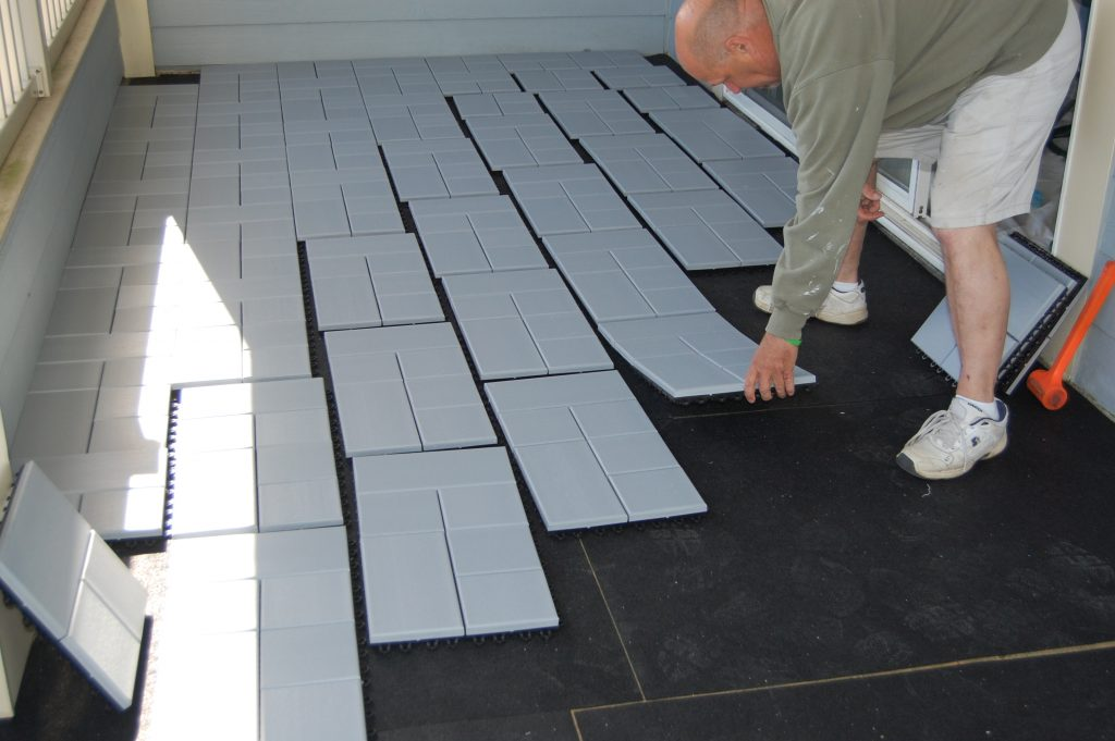 Laying Composite Deck Tiles in a pyramid like fashin